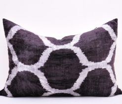 ikat pillow cover, Black designer velvet ikat cushion