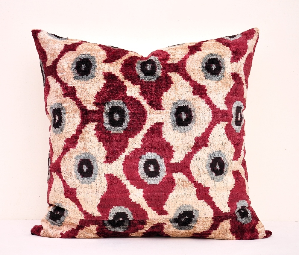 Velvet Decorative Pillow Covers : Decorative Velvet Ikat Pillow Cover - Alesouk Grand Bazaar online shopping