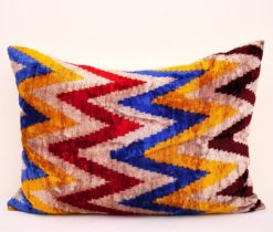 chevron ikat pillow, Colorful chevron Velvet ikat cushion