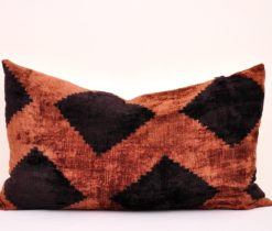 brown silk velvet pillow, Black Brown Velvet Throw Ikat Pillow