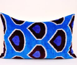 blue ikat velvet throw, Blue Velvet Silk Ikat Pillow Cover