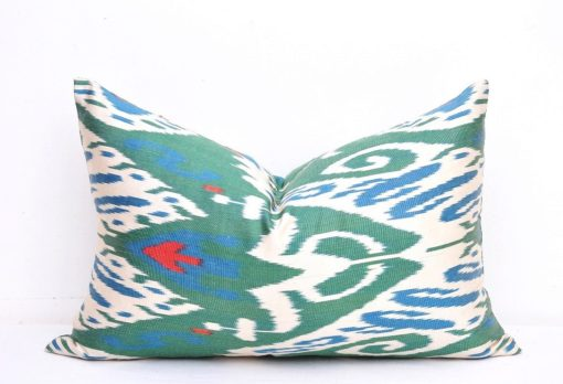 lumbar ikat pillow, Green White decorative lumbar pillow