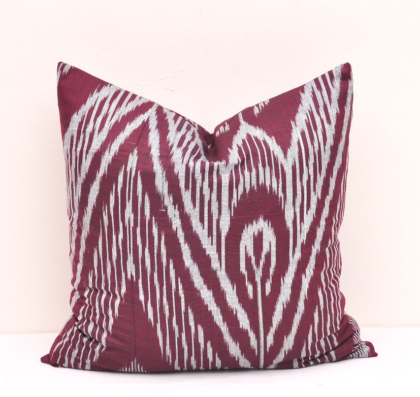 20 X 20 Inch Red Violet Ikat Pillow Cover Alesouk Grand