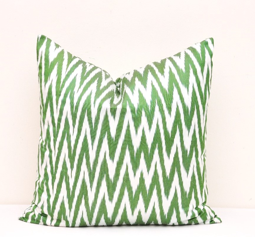 Green Chevron Throw Pillow Cover - Chevron Pillow Cover
