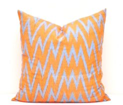 orange decorative chevron pillow cover