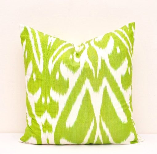 green decorative throw ikat pillow cover