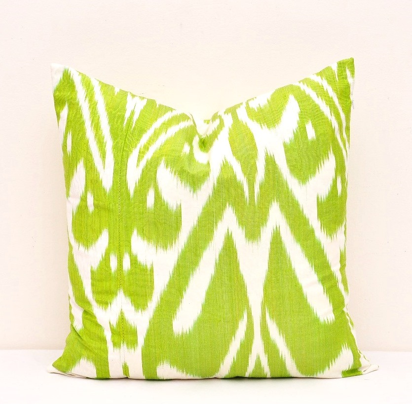 Green Decorative Throw Ikat Pillow Cover Accent Pillow Cover