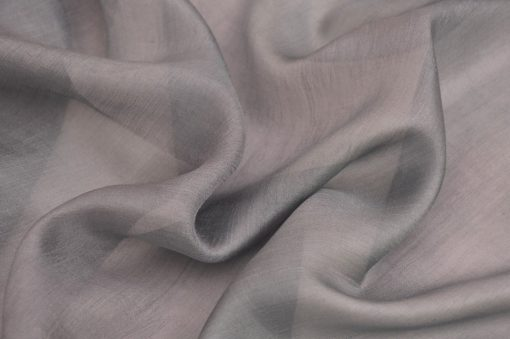 Gray Dress Silk Trendy Fabric Chiffon, Gray Pure Silk Gauze Fabric