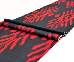 Black Red Upholstery Ikat Fabric