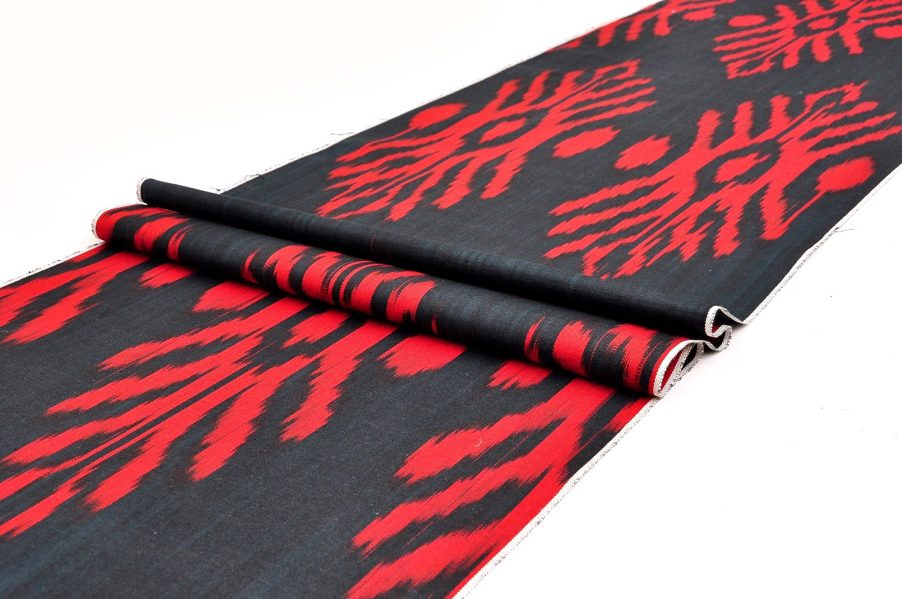 Black Red Ikat Fabric Upholstery Ikat Fabric Alesouk