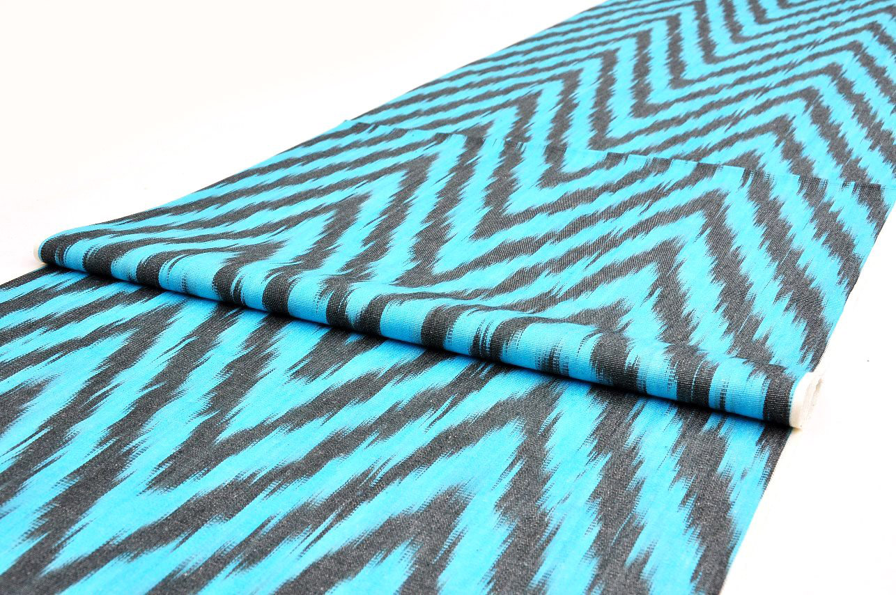 Blue Chevron Ikat Fabric By The Yard Alesouk Grand Bazaar