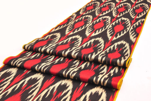 Red Black Cotton Ikat Fabric