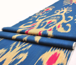 Blue Red Tan Ikat Fabric By The Yard