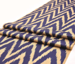 Blue Zigzag Chevron Ikat Fabric