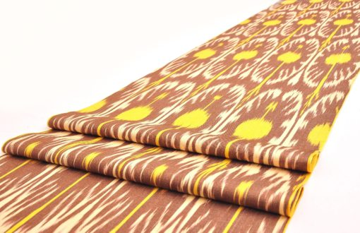 Brown Yellow Handwoven Silk Ikat Fabric