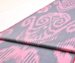 Pink Black Cotton Ikat Fabric