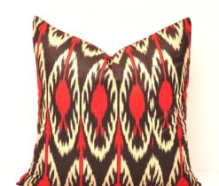 Red Throw Ikat Pillow Cover, Throw Ikat Pillow Cover