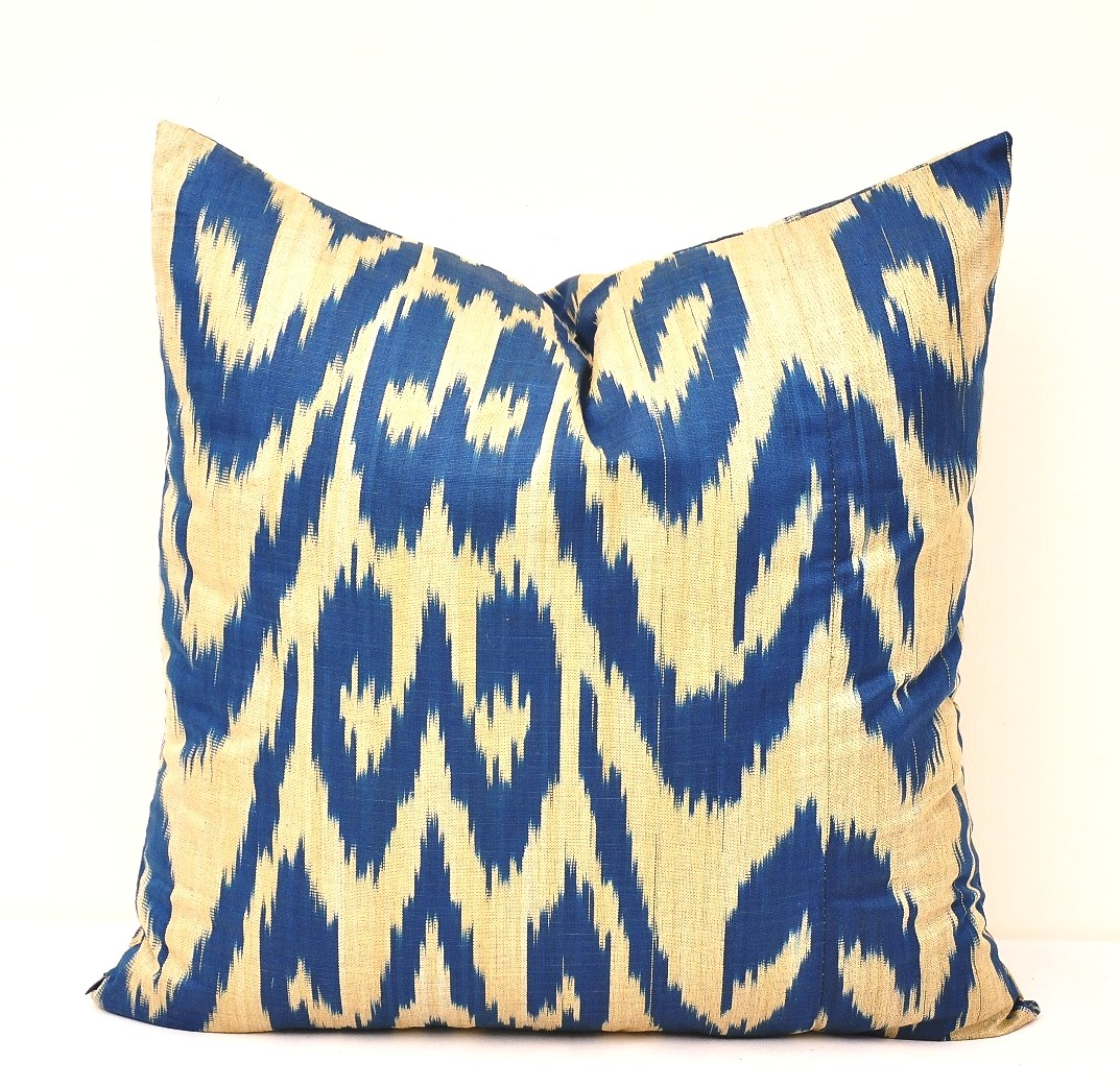 Ikat Throw Pillow Covers : Blue Throw Ikat Pillow Cover - Alesouk Grand Bazaar online shopping