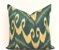 Green Accent Ikat Organic Cotton Pillow , ikat pillow covers