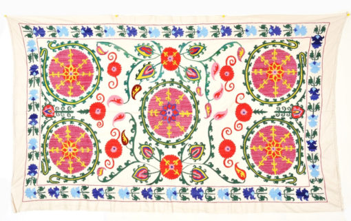 Bedding Bed covering bedspread wall hanging throw vintage suzani Uzbekistan Uzbek