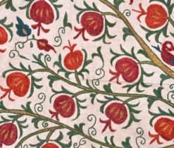 Uzbek Suzani Embroidery Pomegranate Tapestry, Decorative Wallhanging Suzani Embroidery