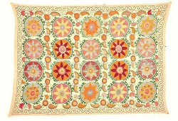 Floral Pattern Suzani Embroidery Bedspread