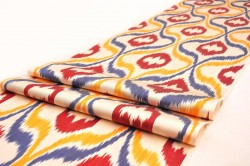 ikat fabric, by the yards, ikat, black dark brown ikat fabric, table runner, upholstery, brown golden, ethnic, textile, uzbekistan, home