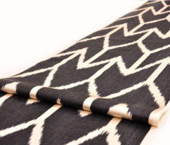 Black Decorative Upholstery Ikat Fabric, Black Ikat Fabric by the Yard