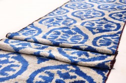 blue velvet ikat fabric