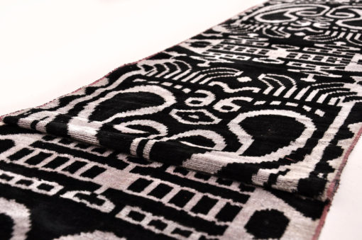 Black White Silk Ikat Velvet Fabric