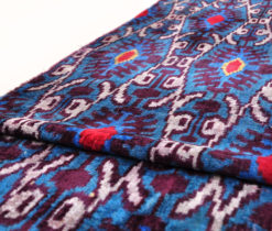 Blue Uzbek Velvet Ikat, silk velvet fabric blue