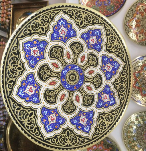 Moroccan Style Embossed Brass Tray