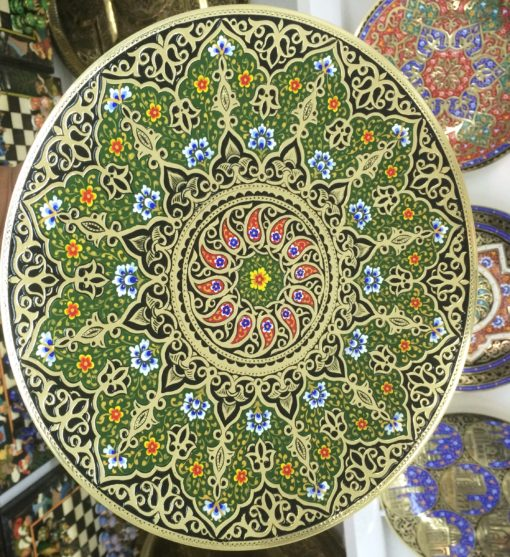 ISLAMIC BRASS ROUND TRAY PLATE PLATTER