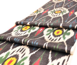 black ikat upholstery fabric by the yard