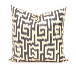 Black White Pillow Cushion Cover, Ikat Pillow Case