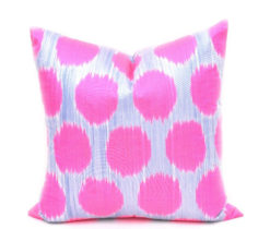 Hot Pink Polka Dot Throw Pillow