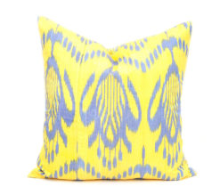 Yellow Oriental Handloom Ikat Pillow, Yellow Designer Decorative Pillow