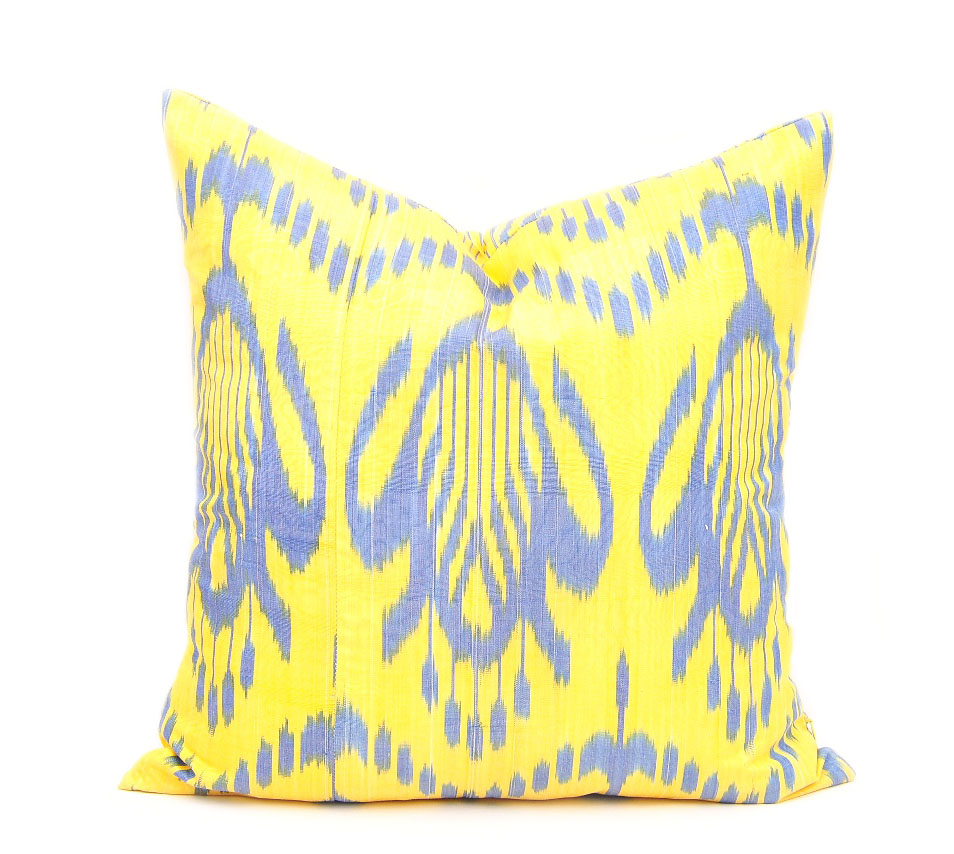 Yellow Oriental Handloom Ikat Pillow Throw Pillow Sale