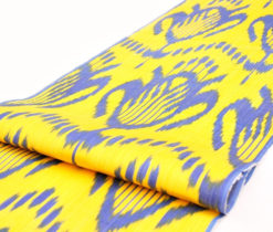 cotton ikat fabric, yellow cotton,yellow fabric, yellow ikat, uzbek ikat, golden ikat, ikat fabric, uzbekistan fabric, yellow blue, silk fabric, silk ikat