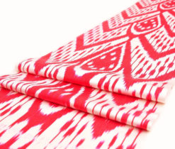 ikat, ikat table runner, ikat table cloth, ikat fabric by the yard, ikat fabric, pink ikat, pink, yellow,red, white hand woven bright