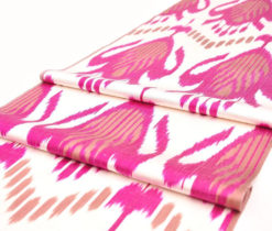 ikat fabric, by the yards, ikat, golden red turqouse ikat fabric, table runner, upholstery, golden, textile, uzbekistan, home