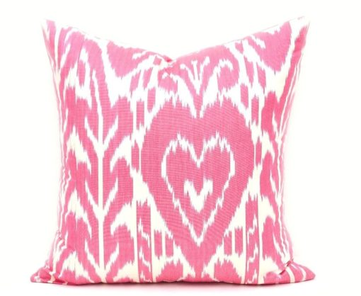 Ikat Cushion Cover, Modern Home Decor Red Throw Pillow