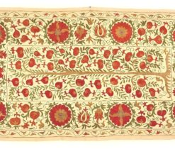 Wall Hanging Table Cover Ethnic Suzani, Big Vintage Suzani, red suzani, Uzbek suzani, wall hanging, vintage suzani, collectable suzani, suzani embroidery, suzani bedspread, Suzani
