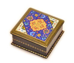 Miniature Lacquer Box, Blue Handmade Lacquer Box
