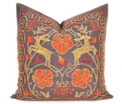 Decorative Couch Pillow Suzani, suzani pillow cover, suzani embroidered pillow cover, suzani embroidered pillow, suzani lumbar pillow, decorative suzani pillows
