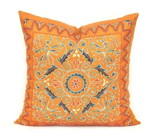 Pillow Suzani Embroidery, Sweet Home Interior Suzani Throw Pillow