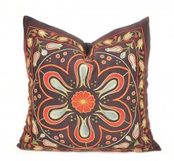 suzani pillow cover, suzani embroidered pillow