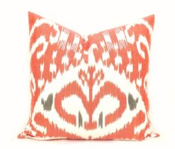 ikat pillow cover, Red Throw Ikat Pillow Case