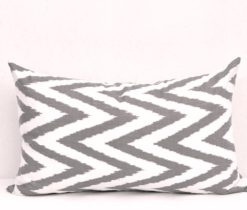 Lumbar Chevron Pillow Case, Black Chevron Ikat Pillow