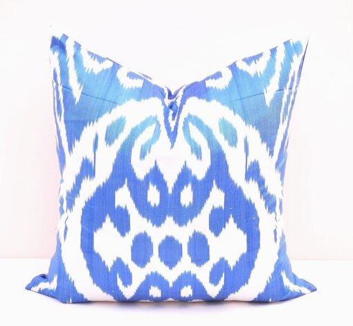 Blue Decorative Pillow Cover   Ikat pillow cover